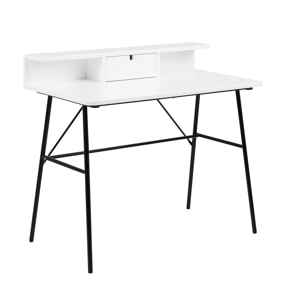 Schreibtisch Pascal mit Schublade, Beine: Metall, lackiert, Tischplatte und Aufbau: Mitteldichte Holzfaserpla, Schwarz, Weiss, B 100 x T 55 cm