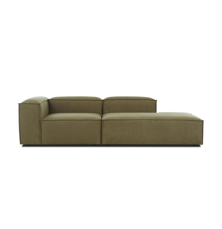 Modulaire chaise longue Lennon in groen, Bekleding: polyester De hoogwaardige, Frame: massief grenenhout, multi, Poten: kunststof, Geweven stof groen, B 269 x D 119 cm