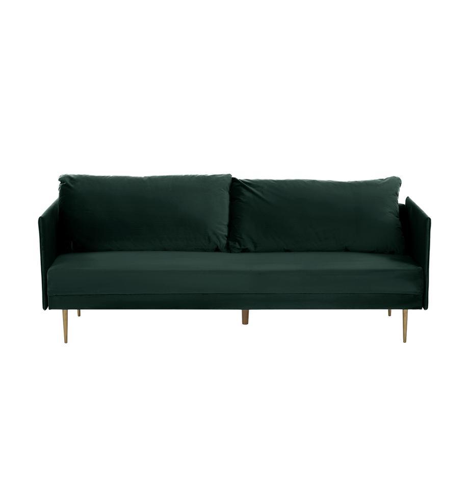 Sofa z funkcją spania z aksamitu z metalowymi nogami Lauren (3-osobowa), Tapicerka: aksamit (poliester) Dzięk, Stelaż: drewno sosnowe, Nogi: metal lakierowany, Aksamitny ciemny zielony, S 206 x W 87 cm
