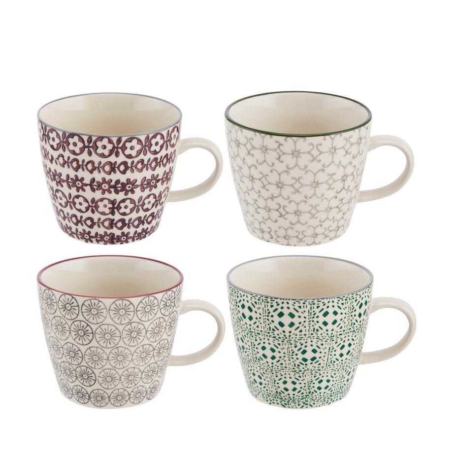 Tassen Karine mit kleinem Muster, 4er-Set, Steingut, Weiss, Grün, Rot, Grau, Ø 10 x H 8 cm