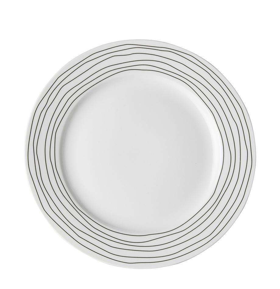 Piattino da dessert con decoro a righe Eris Loft 4 pz, Porcellana, Bianco, nero, Ø 21 x Alt. 2 cm