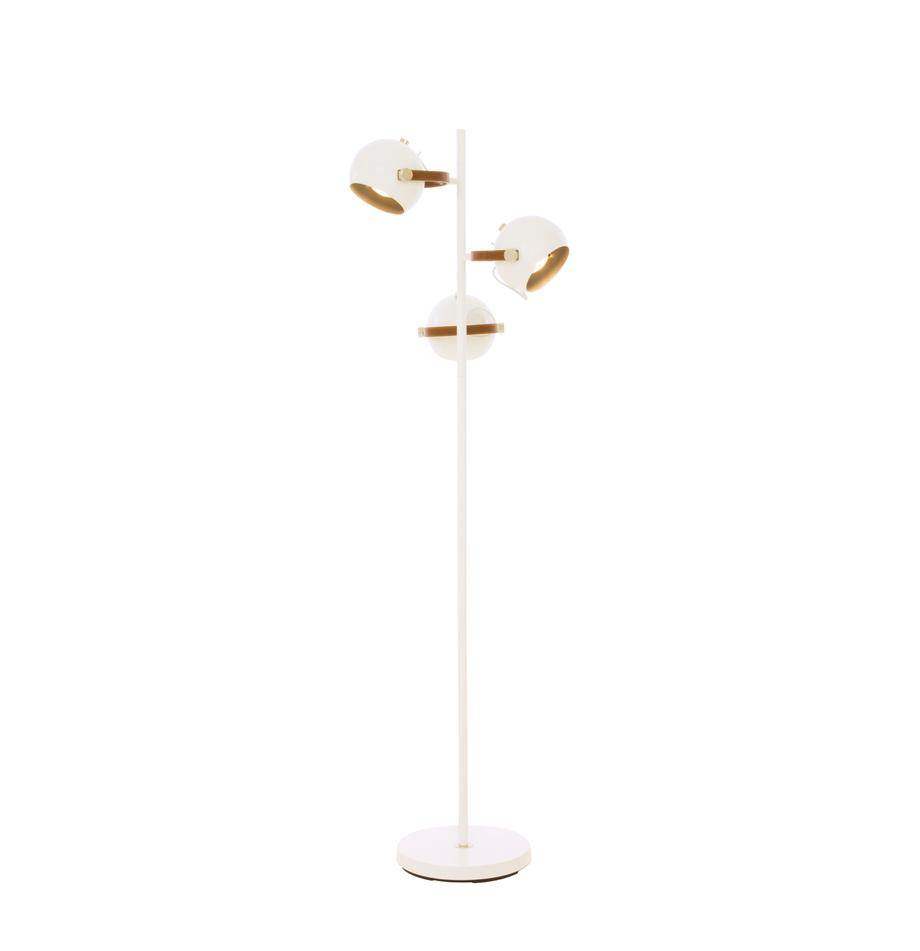 Lámpara de pie Bow, Pantalla: latón con pintura en polv, Cable: plástico, Blanco, marrón, An 48 x Al 152 cm