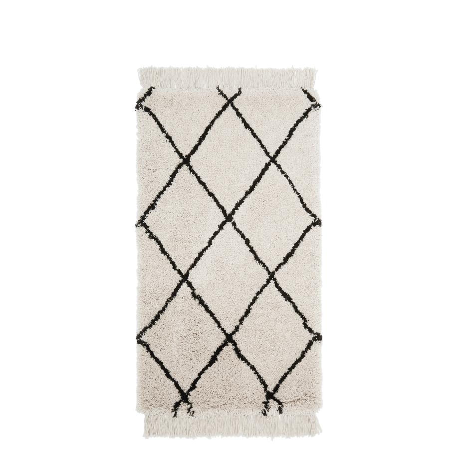 Tappeto taftato a mano con frange Naima, Retro: cotone, Beige, nero, Larg. 80 x Lung. 150 cm (taglia XS)