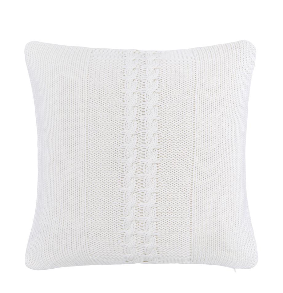 Poszewka na poduszkę z dzianiny Lucas, 100% bawełna, Kremowobiały, S 40 x D 40 cm