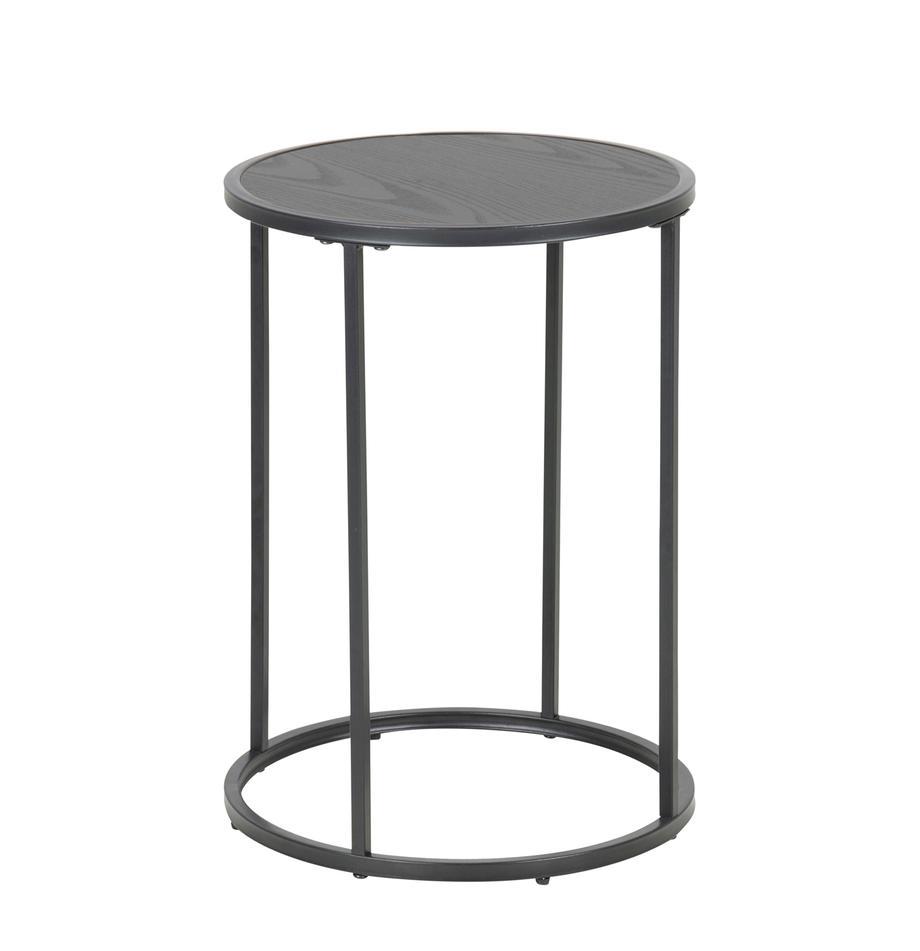 Runder Beistelltisch Seaford aus Holz und Metall, Tischplatte: Mitteldichte Holzfaserpla, Beine: Metall, pulverbeschichtet, Schwarz, Ø 40 x H 55 cm