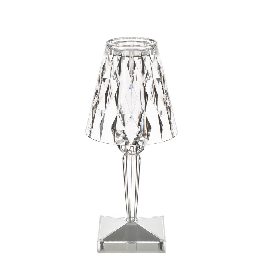 Lámpara de mesa pequeña de diseño Battery, portátil, Pantalla: plástico, Transparente, Ø 12 x Al 26 cm
