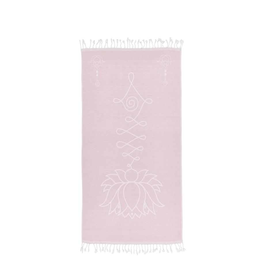 Ręcznik plażowy Lotus, Bawełna Niska gramatura, 210g/m², Blady różowy, biały, S 90 x D 180 cm