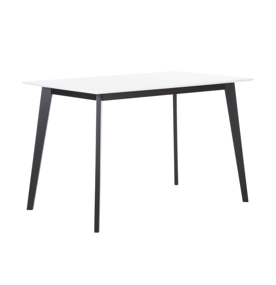 Esstisch Vojens mit weißer Tischplatte, Tischplatte: Mitteldichte Holzfaserpla, Beine: Gummibaumholz, Weiß, Schwarz, B 120 x T 70 cm