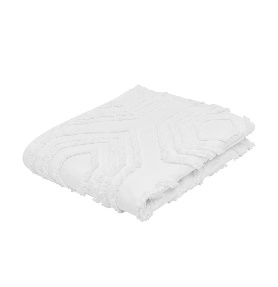 Tagesdecke Faye mit getuftetem Muster, 100% Baumwolle, Weiß, 160 x 200 cm