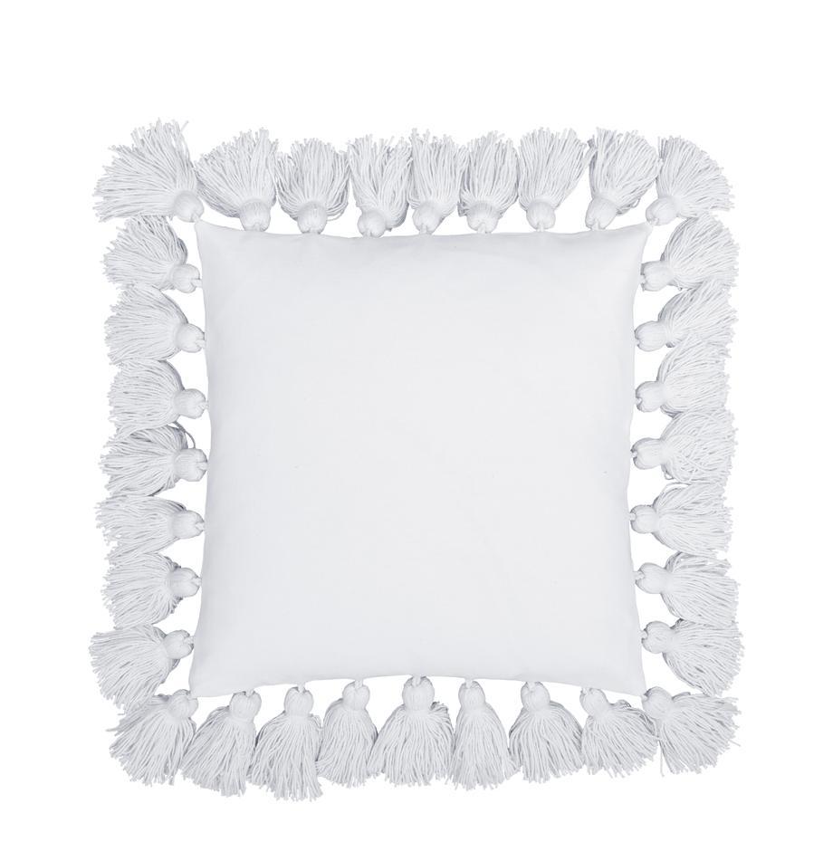 Kissenhülle Shylo in Weiß mit Quasten, 100% Baumwolle, Weiß, 40 x 40 cm