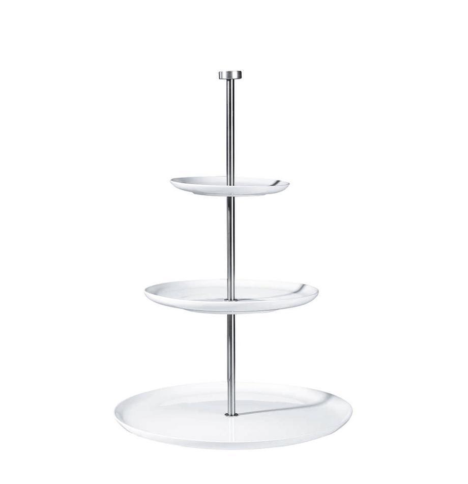 Etagere Kier, Ø 30 cm, Keramik, Metall, Weiß, Ø 30 x H 47 cm