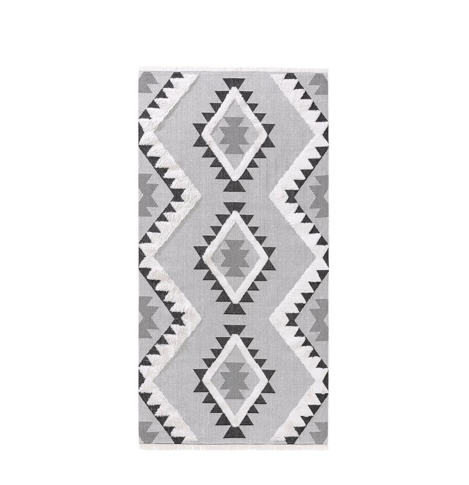 Dywan z bawełny z wypukłą strukturą Oslo Aztec, 100% bawełna, Kremowobiały, odcienie szarego, S 75 x D 150 cm (Rozmiar XS)