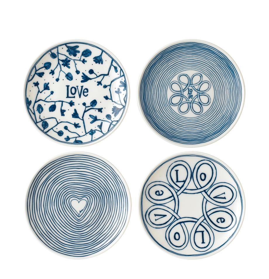 Platos de pan Love, 4uds., Porcelana, Marfil, azul cobalto, Ø 16 cm