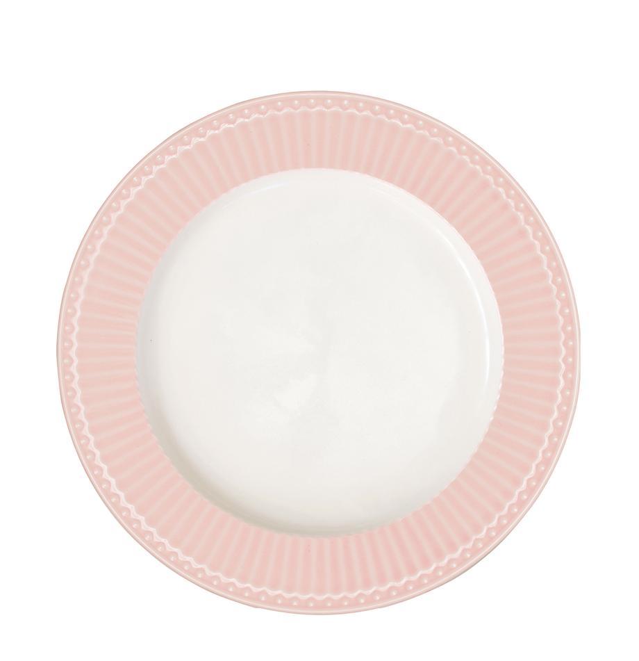 Handgemachte Speiseteller Alice in Rosa mit Reliefdesign, 2 Stück, Steingut, Rosa, Weiß, Ø 27 cm