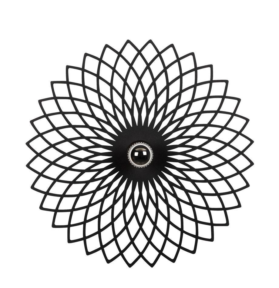 Design wand- en plafondlamp Fellini, Lampenkap: gecoat metaal, Fitting: kunststof, Zwart, Ø 50 cm