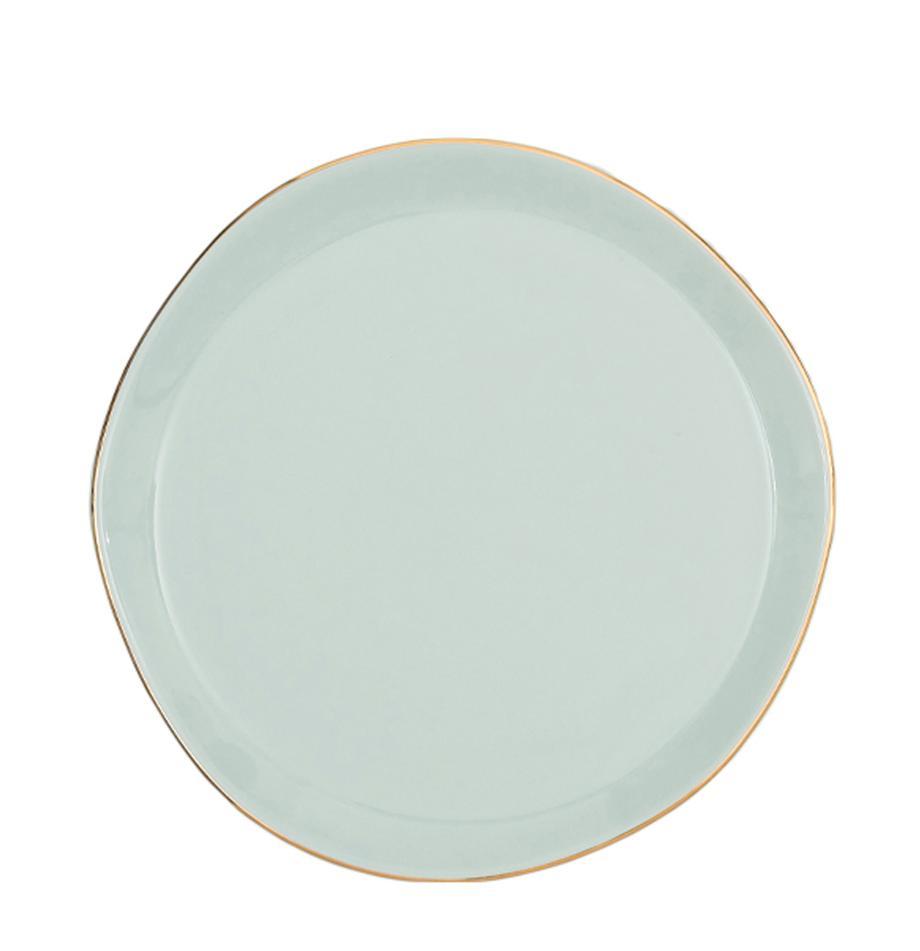 Talerz do ciasta Good Morning, Porcelana, Miętowy, odcienie złotego, Ø 17 cm