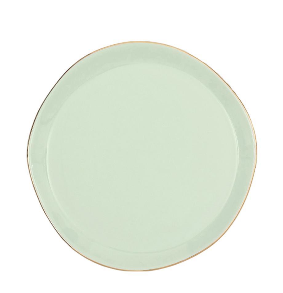Taartplaat Good Morning in mintgroen met goudkleurige rand, Porselein, Mint, goudkleurig, Ø 17 cm