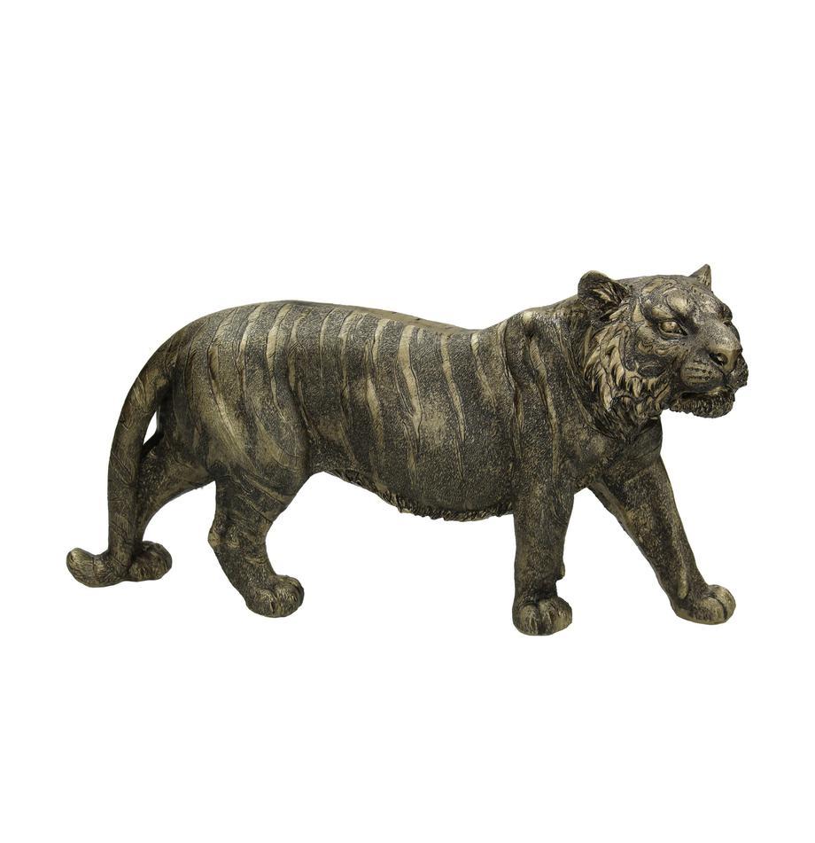 Decoratief object Tiger, Polyresin, Goudkleurig, zwart, 33 x 18 cm