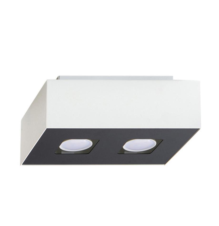 Kleiner Deckenstrahler Hydra, Lampenschirm: Stahl, beschichtet, Baldachin: Stahl, beschichtet, Weiß, Schwarz, 24 x 11 cm