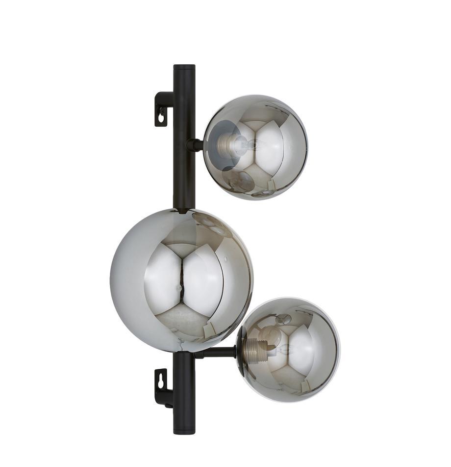 Wandleuchte Molekyl mit Stecker, Schwarz, Grau, 28 x 36 cm