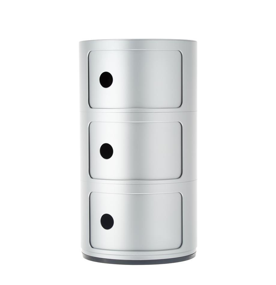 Design Container Componibili 3 Fächer, Kunststoff, Silberfarben, Ø 32 x H 59 cm