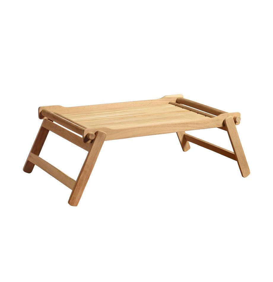 Inklapbaar houten dienblad Bed, B 36 x L 58 cm, Gepolijst teakhout, Teakkleurig, 36 x 58 cm