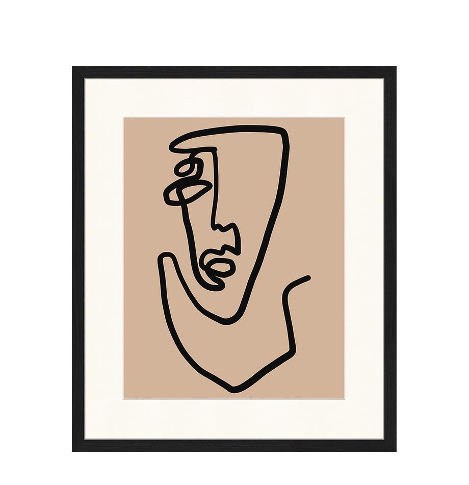 Gerahmter Digitaldruck Abstract Face, Bild: Digitaldruck auf Papier, , Rahmen: Holz, lackiert, Front: Plexiglas, Schwarz, Dunkelbeige, 53 x 63 cm