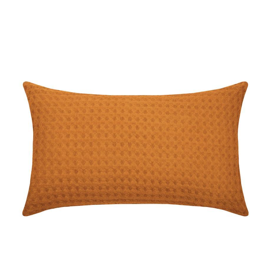 Waffelpiqué-Kissen Gopher, mit Inlett, Bezug: 100% Baumwolle, Senfgelb, 30 x 50 cm