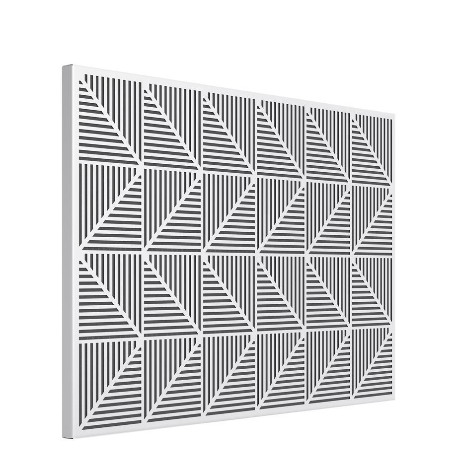 Pinnwand Trigon, Metall, Moosgummi, Weiß, 53 x 38 cm