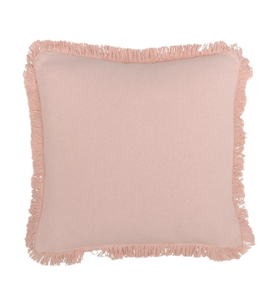 Poduszka z frędzlami z wypełnieniem Prague, Blady różowy, S 40 x D 40 cm