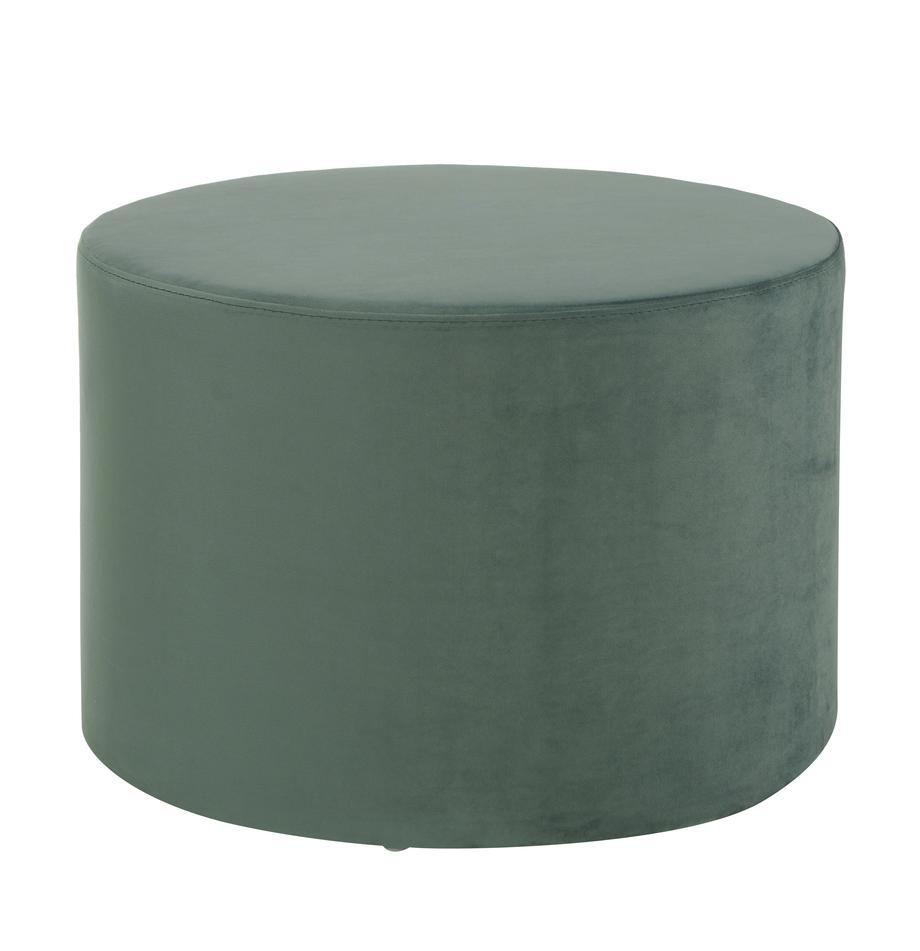 Puf z aksamitu Daisy, Tapicerka: aksamit (poliester) Dzięk, Aksamitny jasny zielony, ∅ 54 x W 40 cm