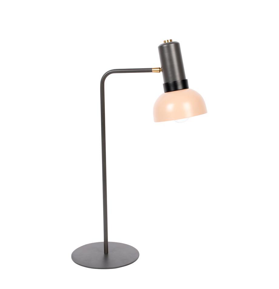 Große Schreibtischlampe Charlie, Lampenschirm: Metall, beschichtet, Lampenfuß: Metall, beschichtet, Grau, Rosa, 21 x 63 cm