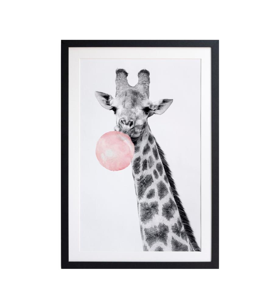 Gerahmter Digitaldruck Giraffe, Bild: Digitaldruck auf Papier, Rahmen: Holz, lackiert, Front: Kunststoff, matt, Schwarz, Weiss, Rosa, 40 x 60 cm