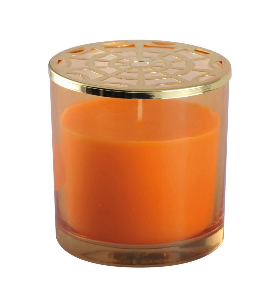 Duftkerze Narana (Orange), Behälter: Glas, Deckel: Metall, Goldfarben, Orange, Ø 10 x H 10 cm