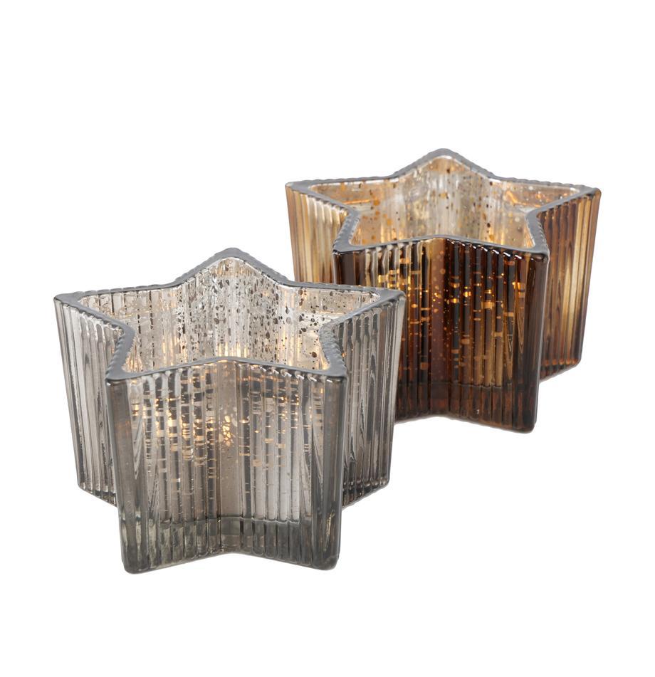 Teelichthalter-Set Imelo, 2-tlg., Glas, lackiert, Grau, Braun, Ø 11 cm