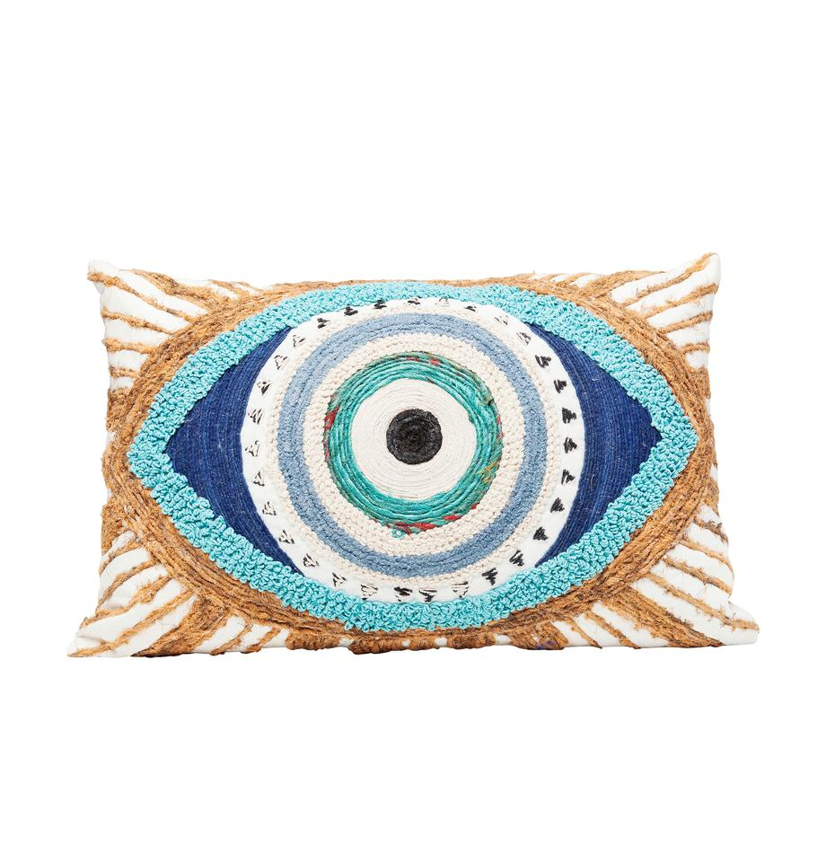 Cojín artesanal con detalles en yute Ethno Eye, con relleno, Tapizado: 100%algodón, Adornos: yute, Blanco, beige, azul, An 35 x L 55 cm
