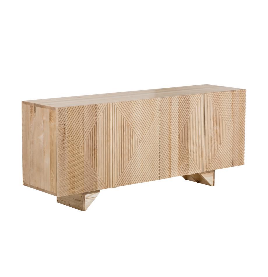 Sideboard Louis mit Türen aus massivem Eschenholz, Eschenholz, 177 x 75 cm