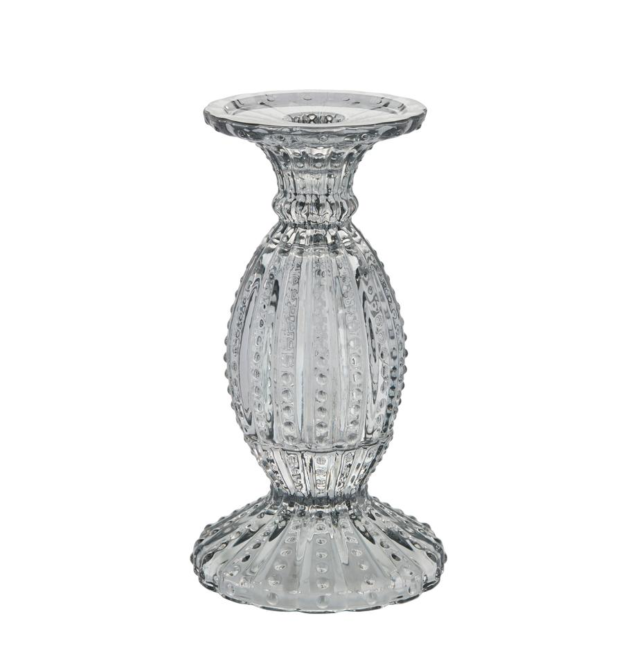 Kerzenhalter Silva, Glas, Grau, transparent, Ø 11 x H 19 cm
