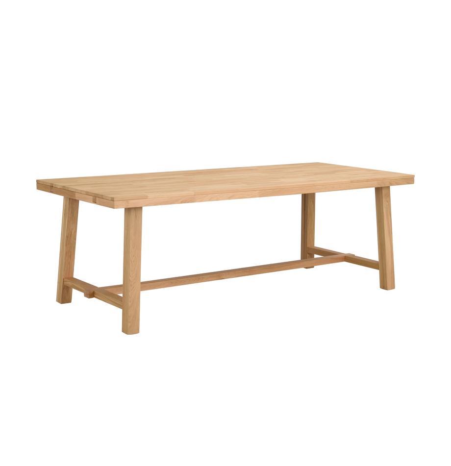 Stół rozsuwany do jadalni z drewna dębowego Brooklyn, Lite drewno dębowe, jasno lakierowane, Drewno dębowe, S 220 - 270 x G 95 cm