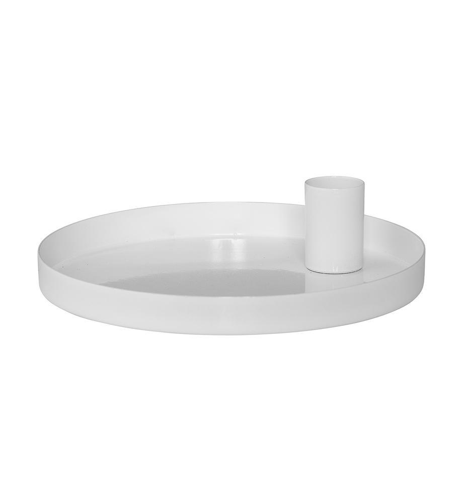 Kerzenhalter Modern, Metall, beschichtet, Weiß, Ø 15 x H 4 cm