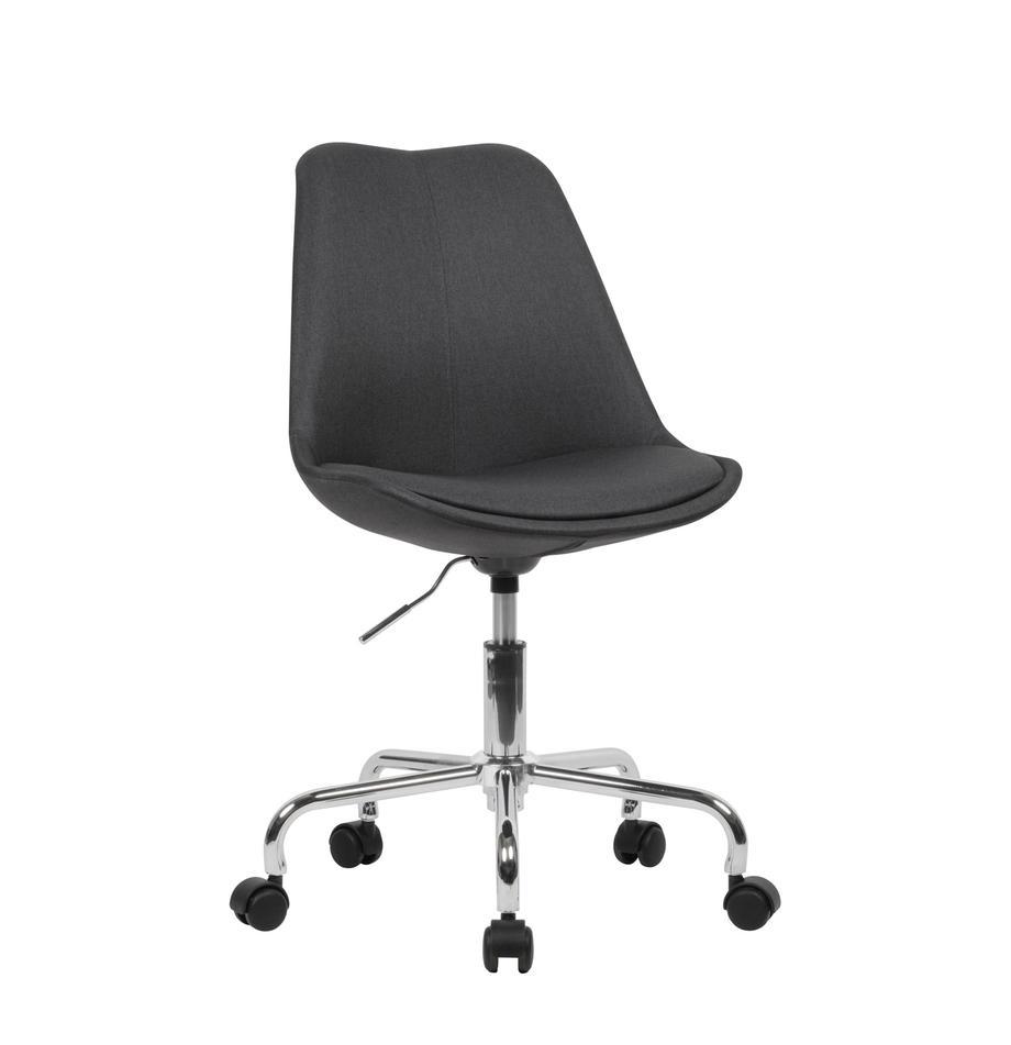 Bureaustoel Lenka, in hoogte verstelbaar, Bekleding: polyester, Frame: verchroomd metaal, Geweven stof antraciet, B 65 x D 56 cm