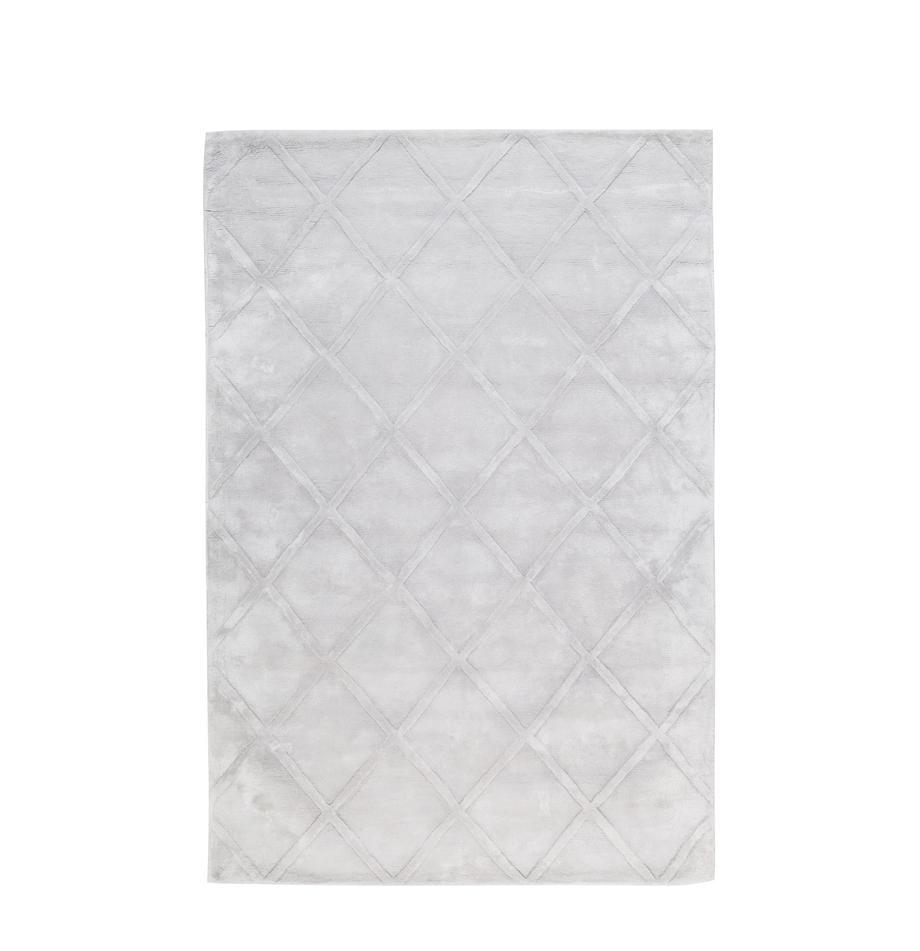 Alfombra artesanal de viscosa Madeleine, Parte superior: 100%viscosa, Reverso: 100%algodón, Gris plateado claro, An 120 x L 180  cm(Tamaño S)