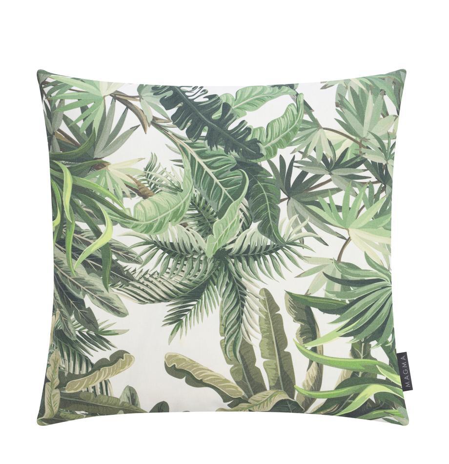 Outdoor-Kissenhülle Manus mit Palmenmotiv, 100% Dralon® Polyacryl, Grüntöne, Cremefarben, 50 x 50 cm