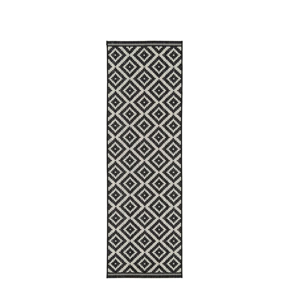 Alfombra de interior/exterior Miami, Parte superior: 100%polipropileno, Reverso: poliéster, Blanco crema, negro, An 80 x L 250 cm