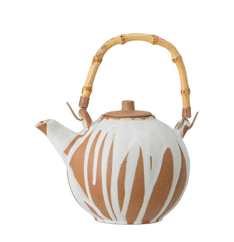 Tetera artesanal de gres Camellia, 800ml, Tetera: gres, Asa: bambú, Blanco, terracota, 800 ml