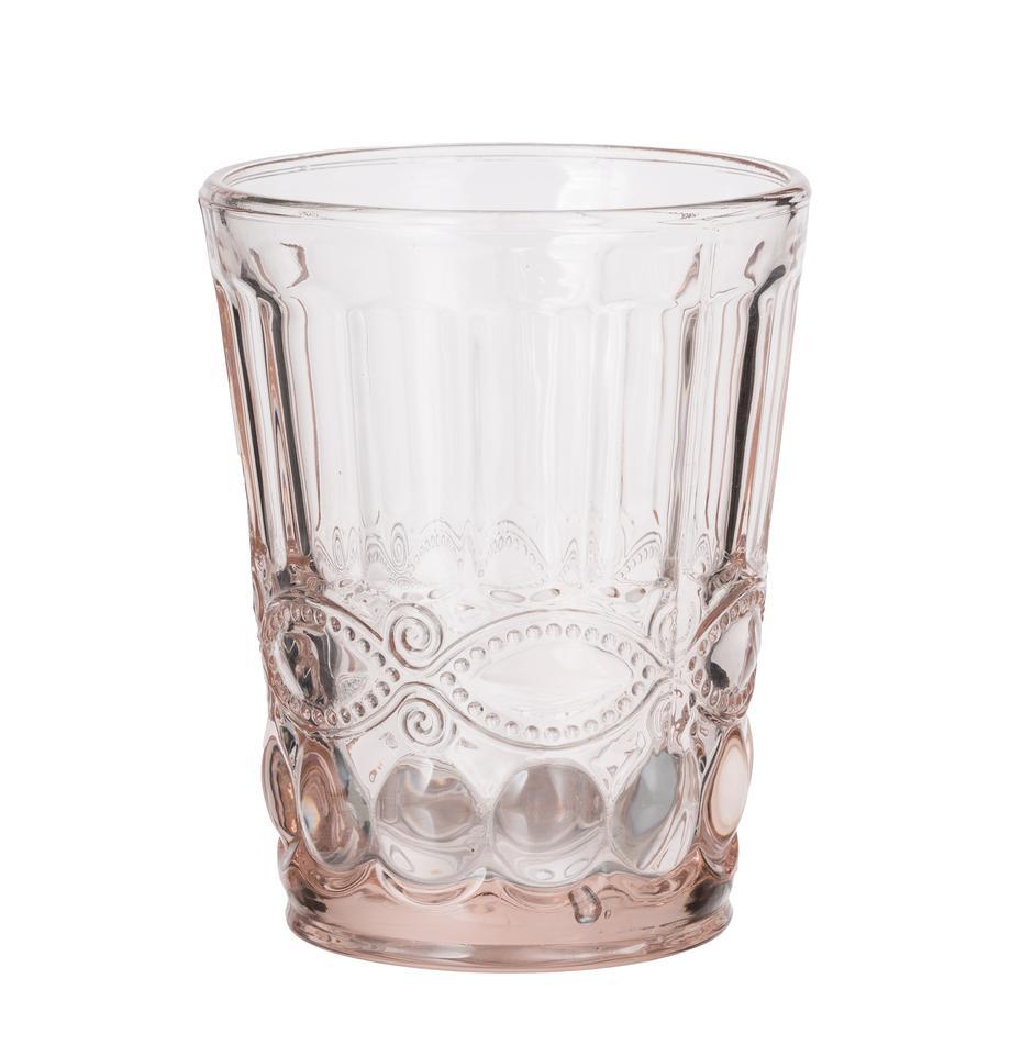 Vasos con relieve Solange, 6uds., Vidrio, Transparente, rosa, 265 ml