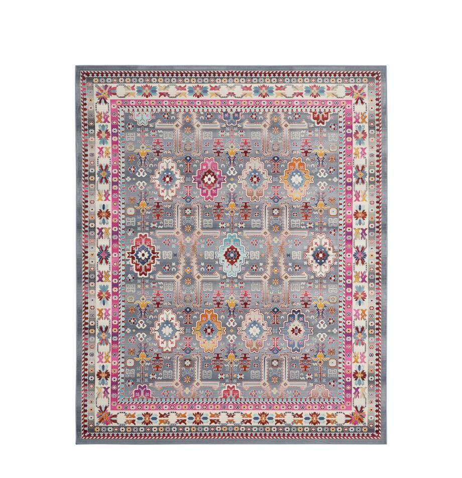 Alfombra Kashan, estilo vintage, Parte superior: 100%polipropileno, Reverso: látex, Gris, multicolor, An 120 x L 180 cm (Tamaño S)
