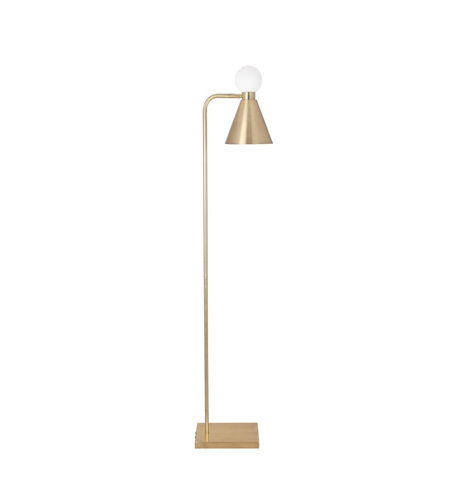 Lampa podłogowa ze świecącą dekoracją Ludo, Odcienie mosiądzu, szczotkowany, biały, S 18 x W 156 cm