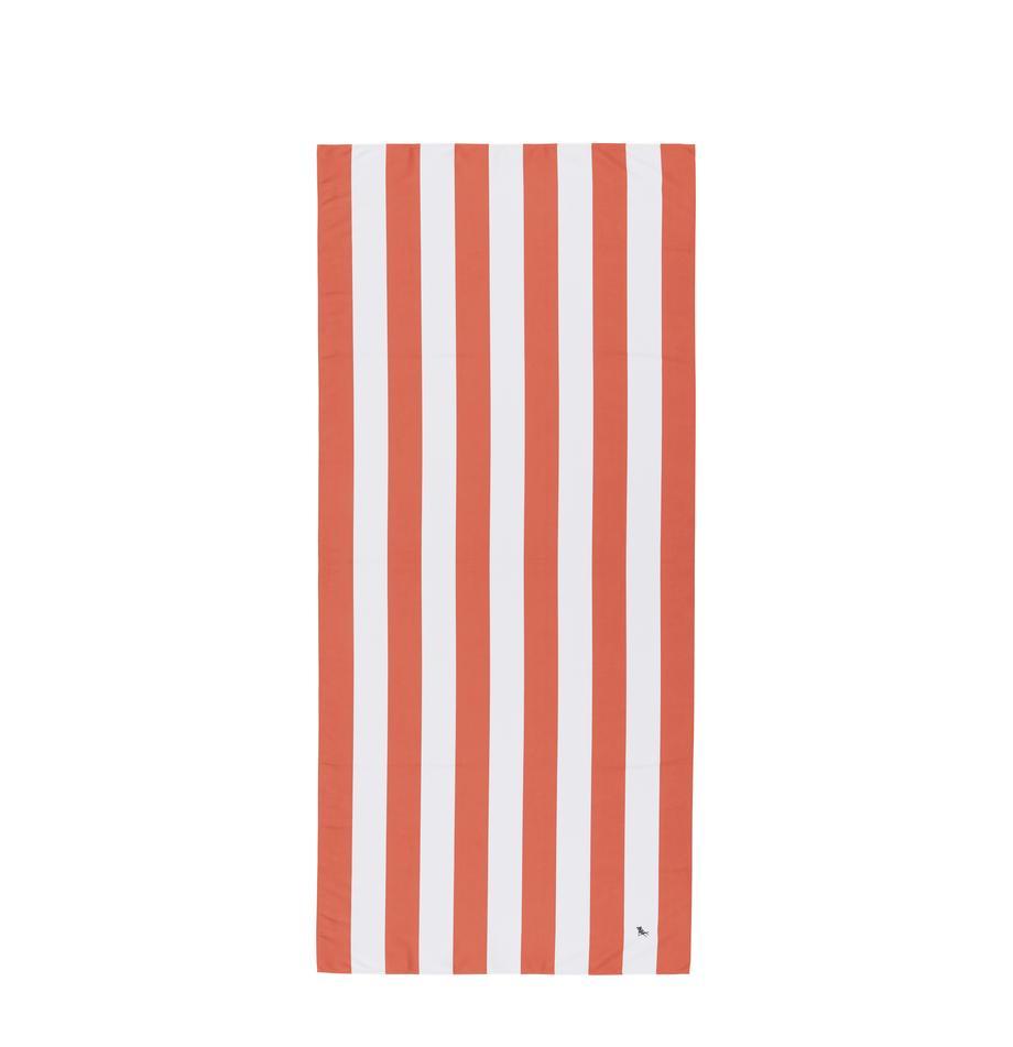 Microfaser-Strandtuch Cabana, schnell trocknend, Microfaser (80% Polyester, 20% Polyamid), Koralle, Weiß, 90 x 200 cm