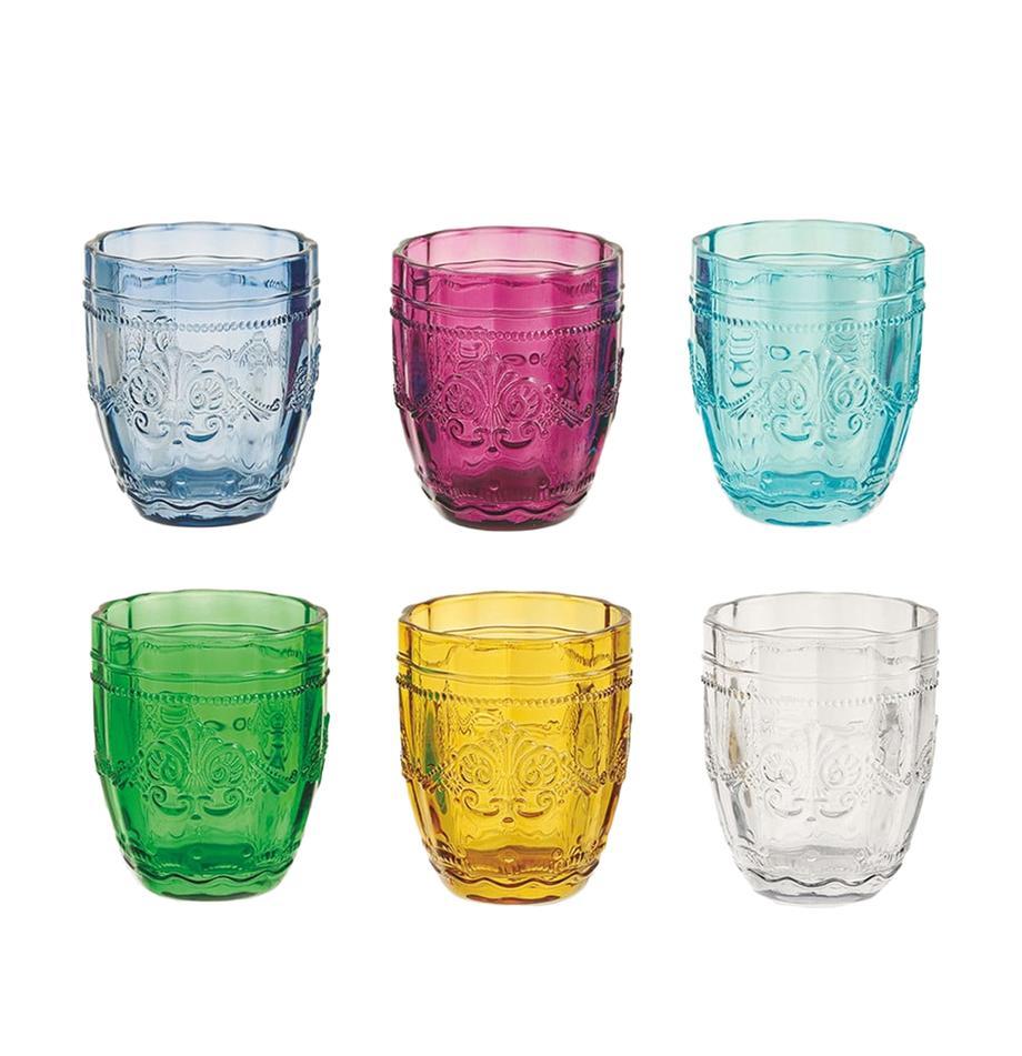 Vasos de colores con relive Syrah, 6uds., Vidrio, Multicolor, Ø 8 x Al 10 cm